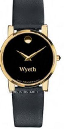 Men's Movado Goldtone Finish Watch W/ Black Museum Dial & Calfskin Strap