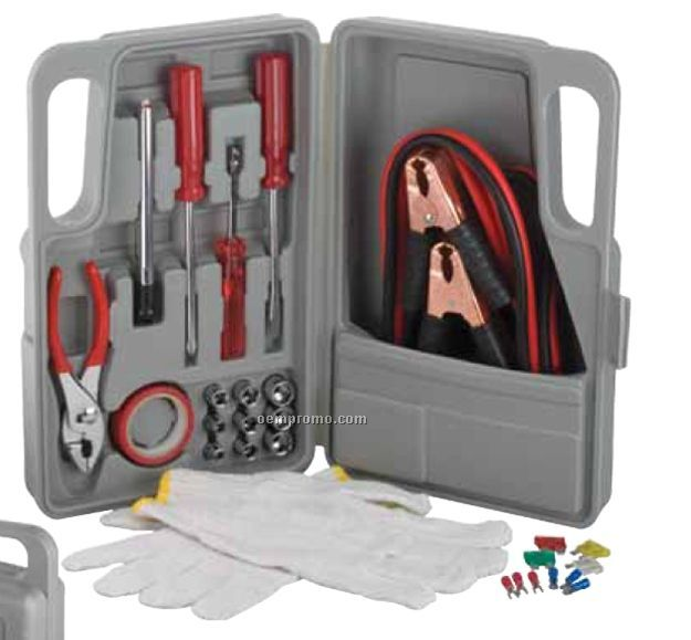 27-piece Roadside Tool Set With Jumper Cables