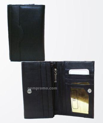 Ladies' Red Cowhide Tri Fold Wallet