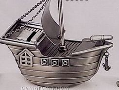 Pewter Finished Pirate Ship Baby Bank