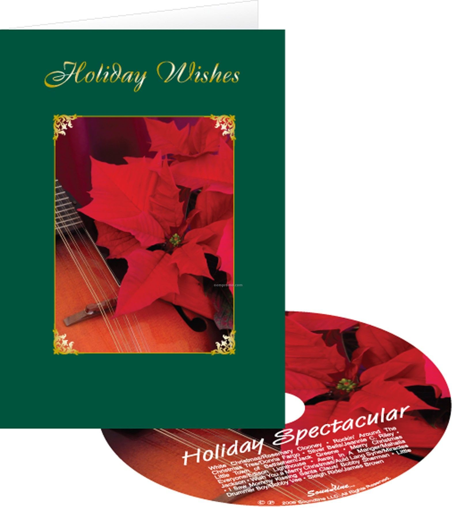 Poinsettia Holiday Wishes Greeting Card With Matching CD