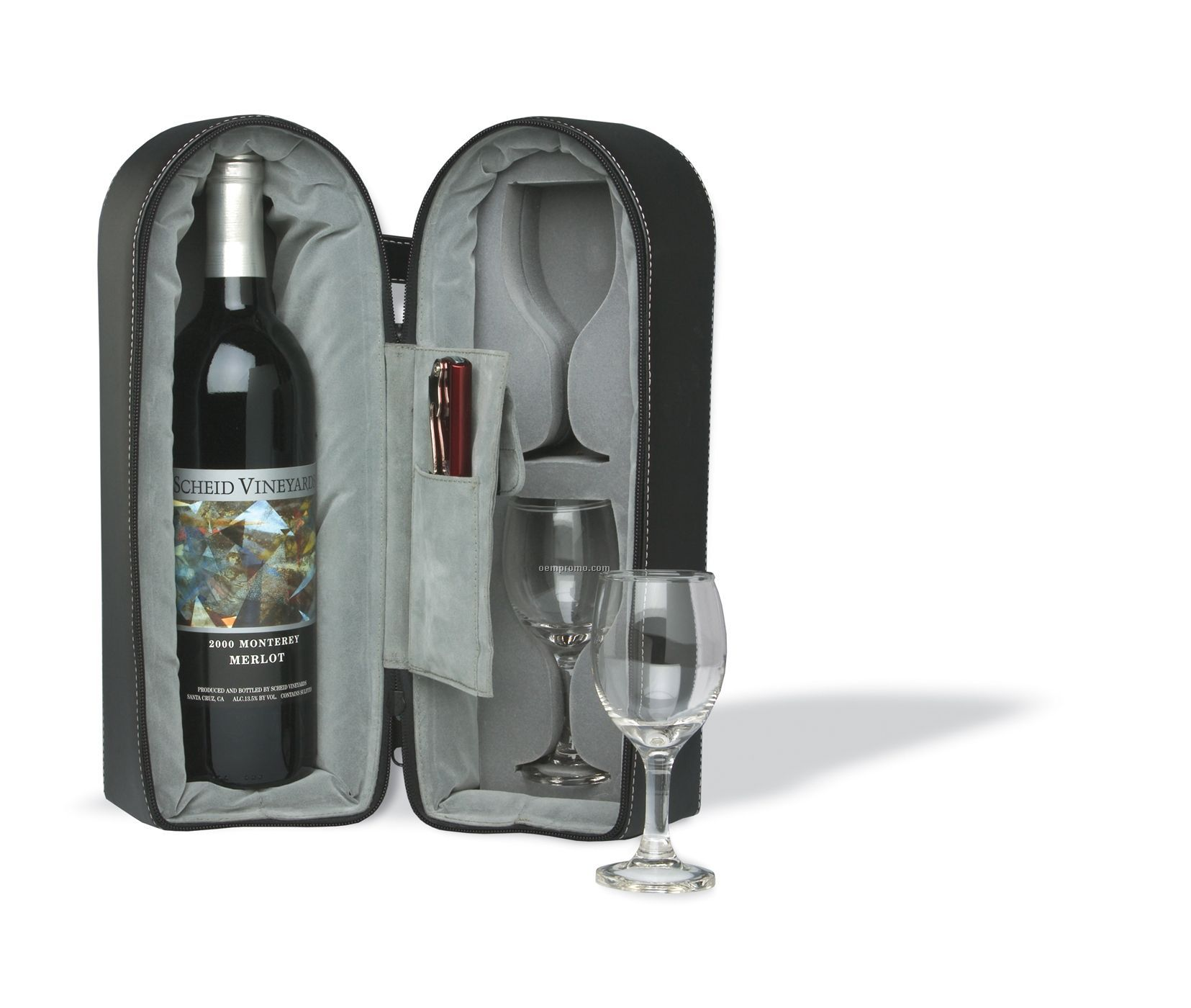 Wine Travel Case With 2 Glasses (Laser Engraved)