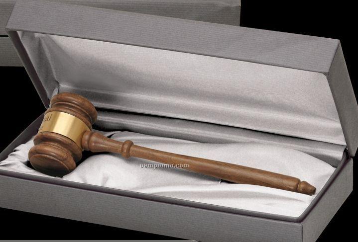 American Walnut Standard President Gavel W/ Presentation Case