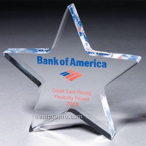 """Clear 3/4"""" Star Paperweight (Laser Engraved)"""