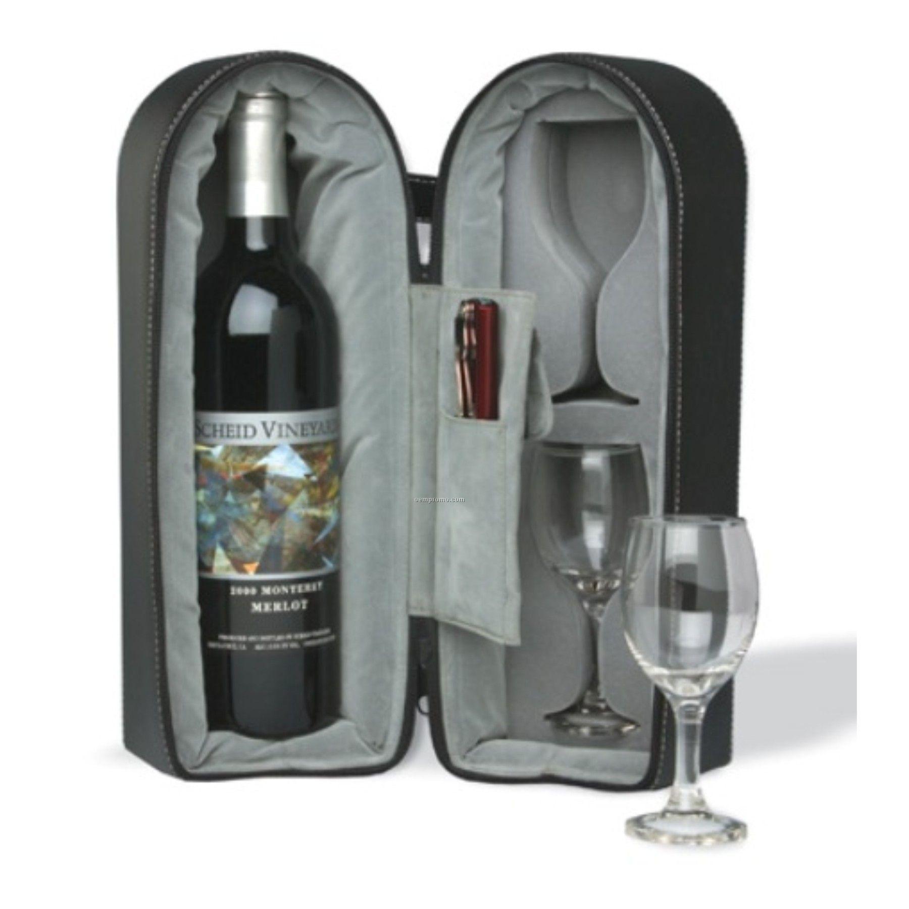 Wine Travel Case With 2 Glasses & Corkscrew (Laser Engraved)