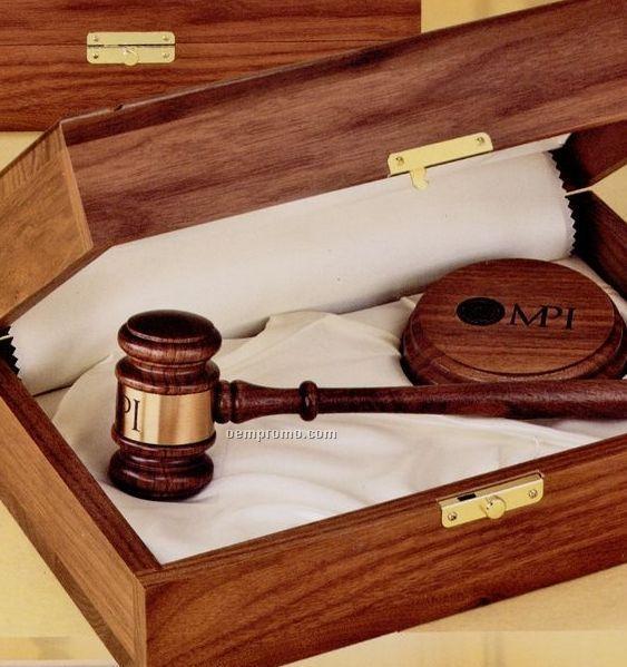 American Walnut Royal Standard Gavel W/ Presentation Case
