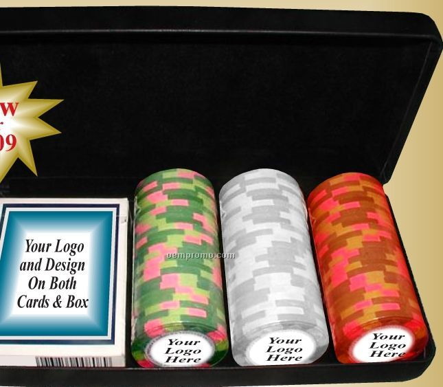 Ultra Compact Travel Poker Set W/ Blank Chips & Card Deck