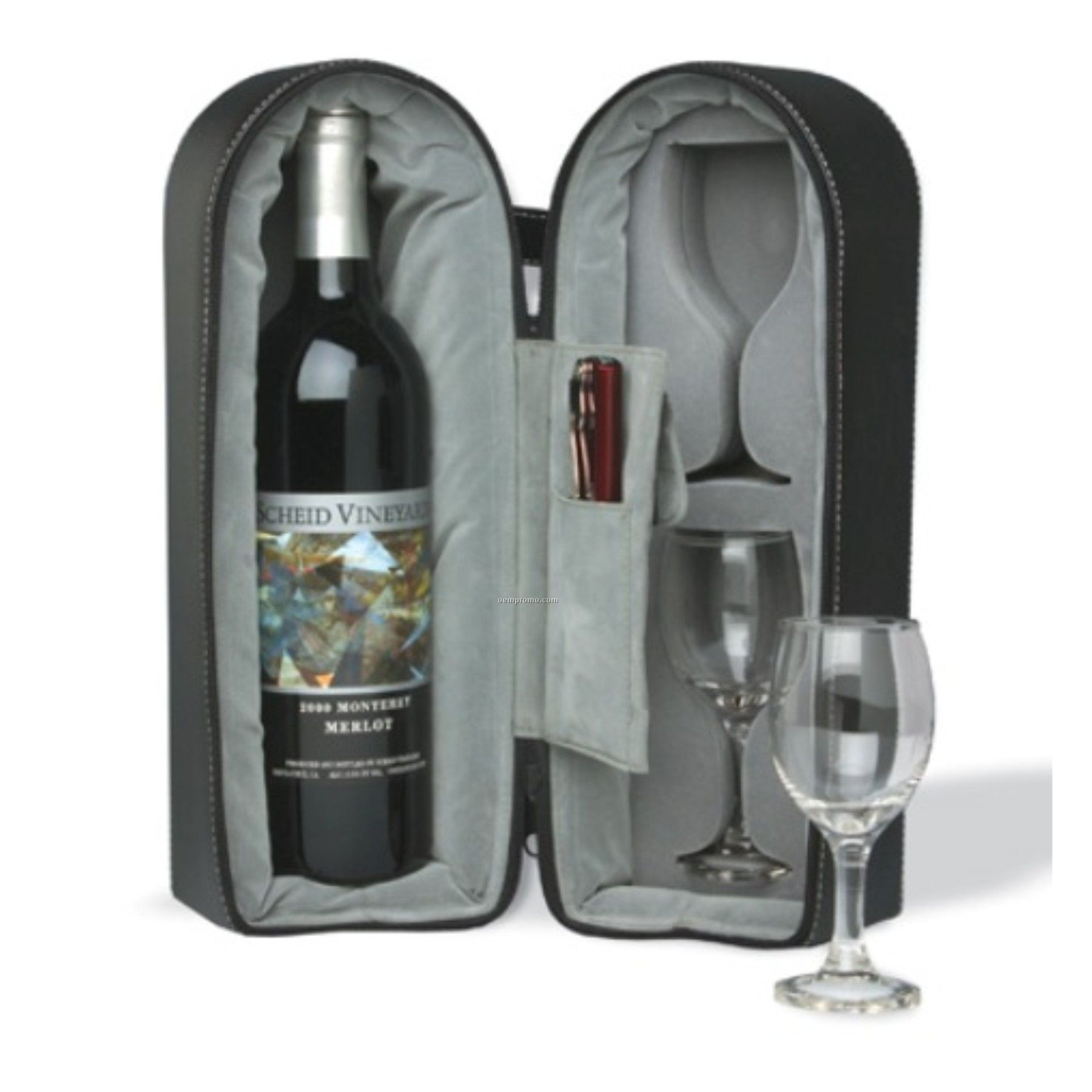 Wine Travel Case With 2 Glasses & Stopper (Screen Printed)