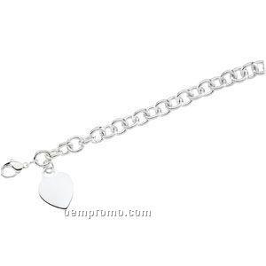 """Ladies' 7-1/2"""" Sterling Silver 9-3/4mm Bracelet W/ Heart"""