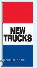 Single Face Stock Message Rotator Drape Flags - New Trucks