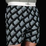Standard Fabric Boxer Shorts With Exposed Elastic Waist And Allover Print