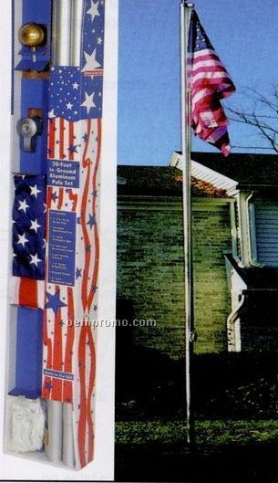 15' Residential Aluminum Poles Set W/ Embroidered Flag