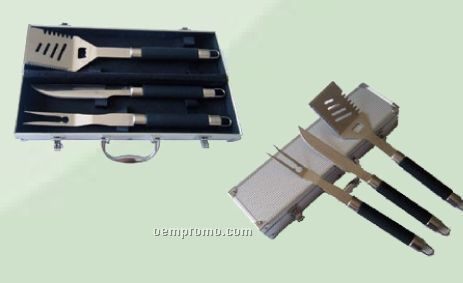 3 Piece Bbq Tool Set With Spatula & Fork