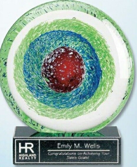 Art Glass Award On Black Granite Base