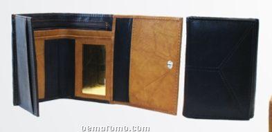 "Ladies' Medium Brown 5.5"" Wallet W/ Front V-shape Trim"