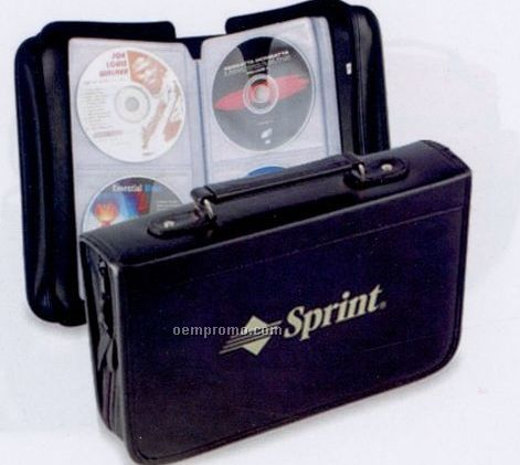 "6-1/2""X11""X1-3/4"" Leatherette 96 Piece CD/ DVD Holder Case"