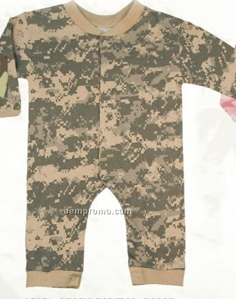 Army Digital Camouflage Long Sleeve Infant Romper