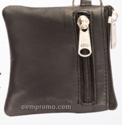 Black Leatherette 2 Zipper Change Purse W/ Key Ring