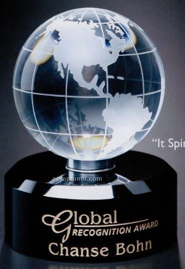 """Global Gallery Crystal Awards In Motion Globe (4 3/4"""")"""