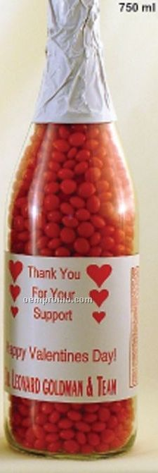 750 Ml. Glass Champagne Bottle Filled With Red Hots