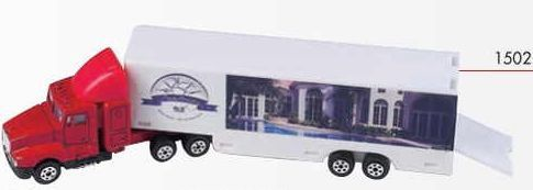 "8"" Die Cast Replica Hauler (White Hauler/Red Cab) Moving Company Version"