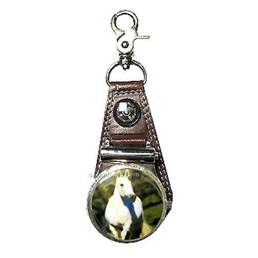 Belt Loop Quartz Watch With Compass - Full Color Horse