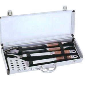 3-piece Bbq Set With Tongs/ Fork & Spatula