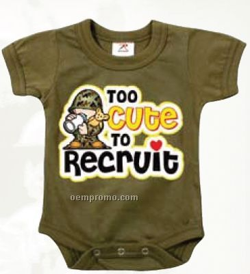 Infant Olive Drab Green Too Cute To Recruit Creeper