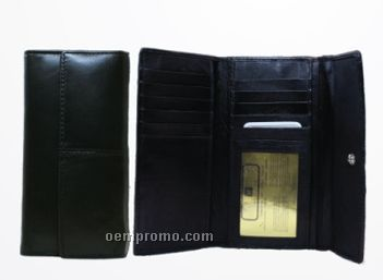 Ladies Lambskin Leather 2-sided Credit Card Wallet W/ Coin Purse