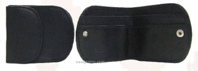 Black Lambskin Napa Bi-fold Wallet W/ Change Purse