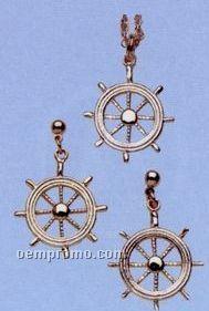 Sterling Silver Ship's Wheel Earrings