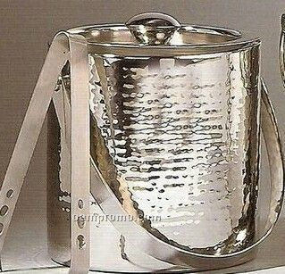 Double-wall Hammered Ice Bucket W/ Tongs