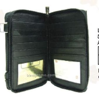 Ladies Black Cowhide Checkmate Organizer Neck Wallet