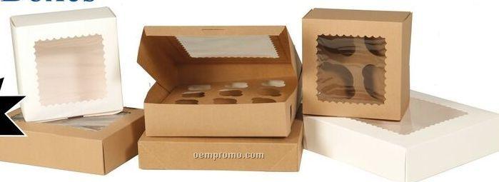 Kraft Window Cupcake Boxes W/ 12 Regular/24 Mini Cupcake Capacity