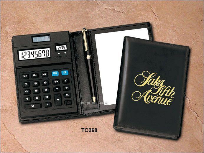 Portfolio Calculator With Digital Clock Note Pad