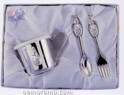 3 Piece Silver Plated Bunny Baby Set