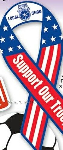 """Stock Support Our Troops Ribbon Shape Car Magnet (3-3/8""""X8"""")"""
