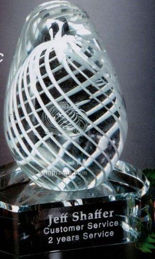 Art-glass Gallery White Swirl Award On Clear Base