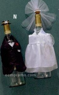 Bride & Groom Bottle Bib Set