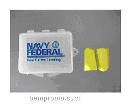 Non-corded Ear Plugs In Translucent Case - Imprinted