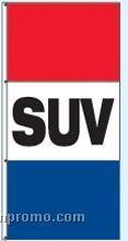 Single Face Stock Message Rotator Drape Flags - Suv