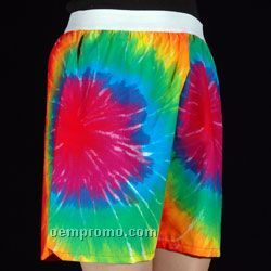 Tie-dye & Camo Boxer Shorts With Exposed Elastic Waist