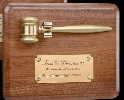 Walnut Plaque W/ Gold Miniature Gavel