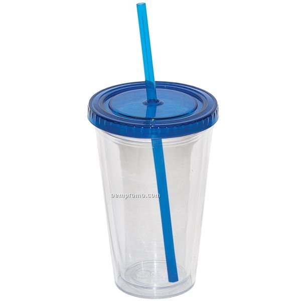 16 Oz. Double Walled Tumbler W/ Straw (Blank)
