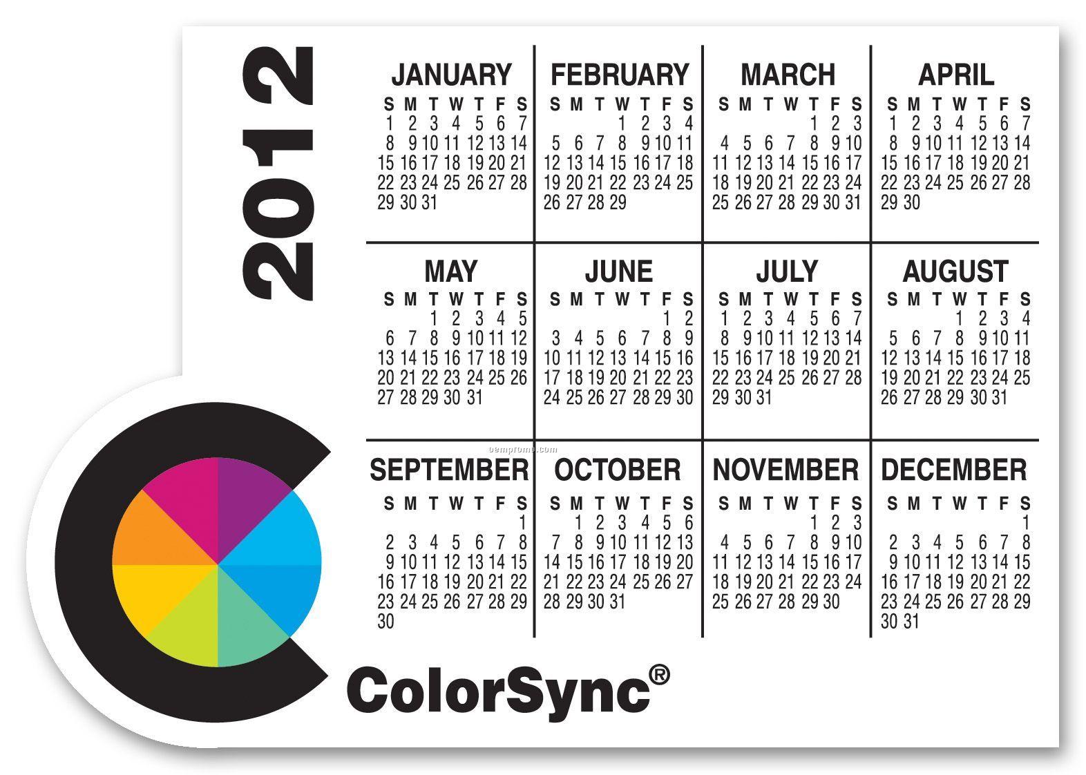 Large Full Color Calendar Magnet W/ Right Corner Circle / 30 Mil- Group L3