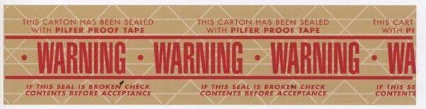 "Stock Imprinted Reinforced Gummed Tape/ 3""X375' (Warning)"