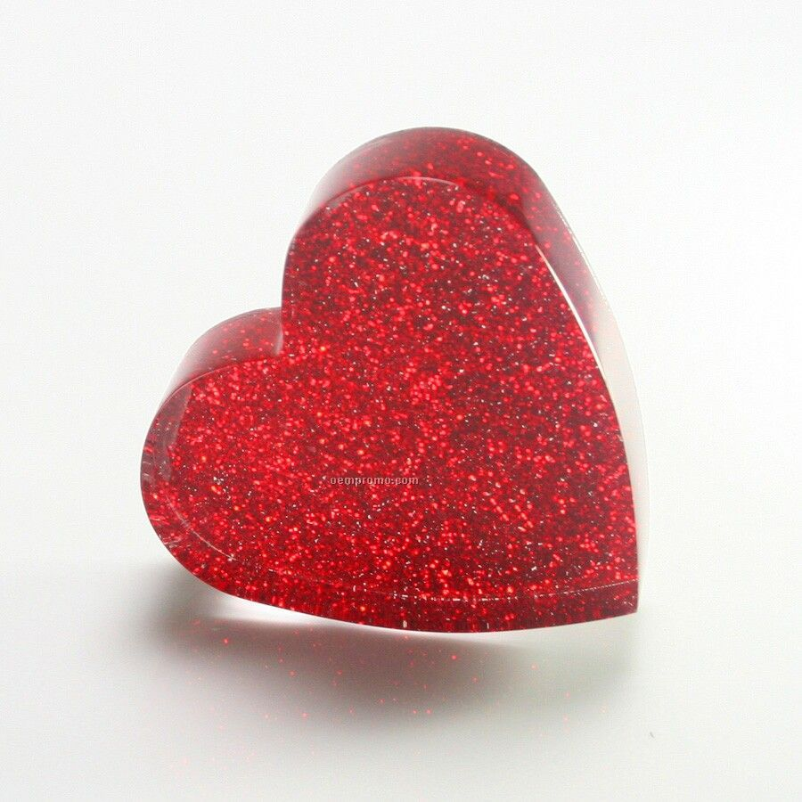 """Acrylic Heart Paperweight With Glitter (3-1/8""""X3"""")"""
