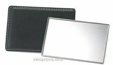 Rectangular Shaped Mirror With Leatherette Sleeve