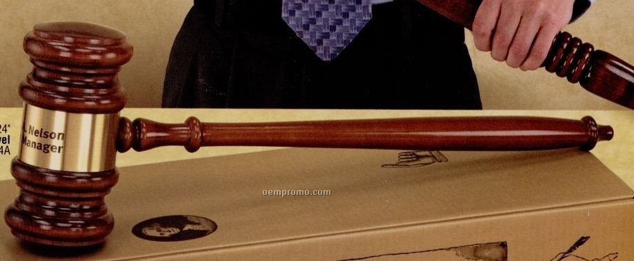 Rock Maple Great Novelty Gavel W/ Brass Engraving Band