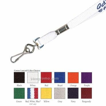 "3/8"" Cotton Lanyard W/ J Hook - 1 Color"